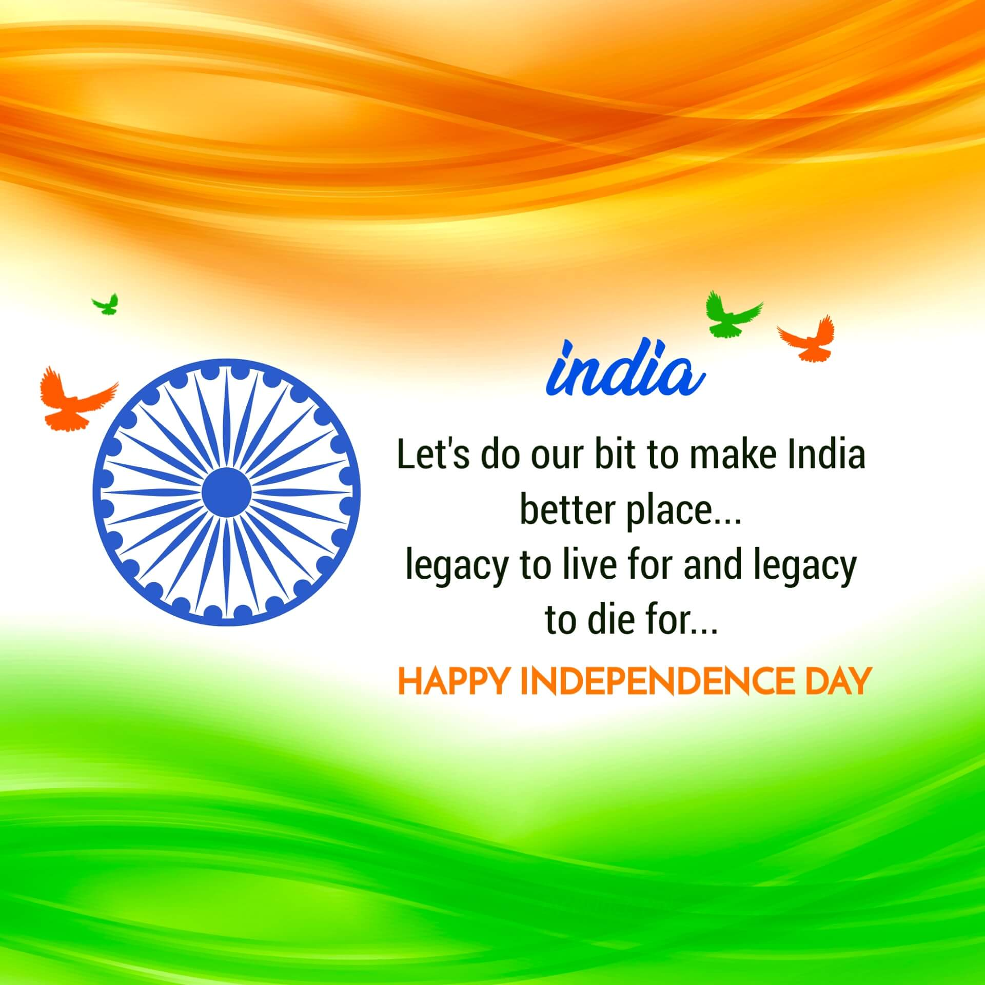 India Independence Day Image with Message